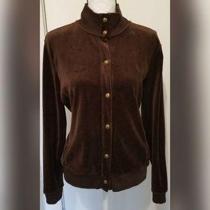 Lauren Ralph Lauren Brown Hoodie Jacket Velvet